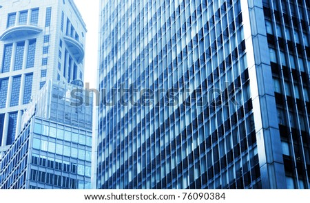 modern building with blue toned - stock photo