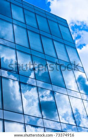 Modern building with reflection on glass