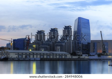 Modern buildings and the port in Baku (Azerbaijan)