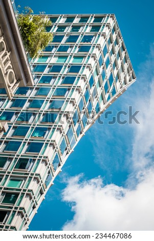 Modern buildings architecture in the commercial area of Singapore - stock photo