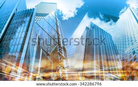 Modern buildings composition with traffic lights reflections, London - stock photo