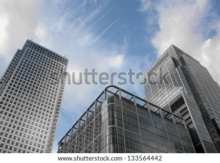Modern buildings in Canary Wharf, London - stock photo