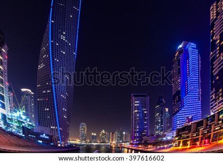 Modern buildings in Dubai Marina, Dubai, UAE - stock photo