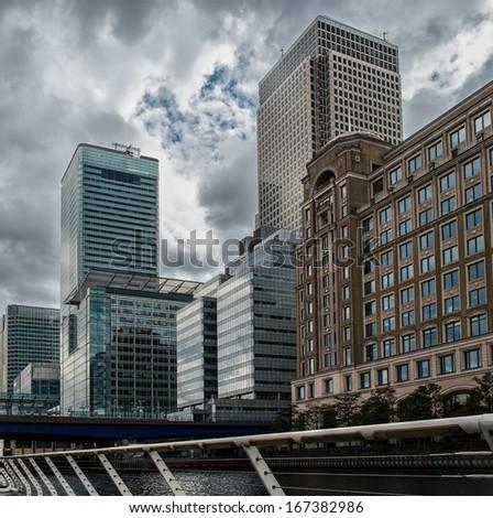 Modern buildings in London, England - stock photo