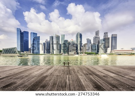 Modern buildings of Singapore skyline landscape in business district with blue sky - stock photo