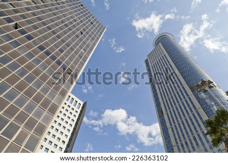 Modern buildings skyscrapers silhouettes - stock photo
