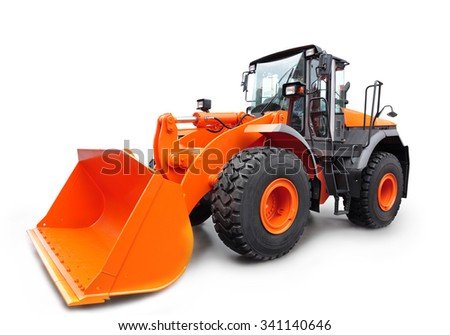 Modern Bulldozer, isolated on white background with shadow