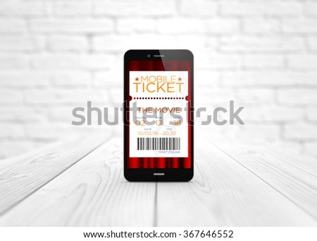 modern business and communications concept: digital generated smart phone over wooden table with cinema tickets application. All screen graphics are made up. - stock photo