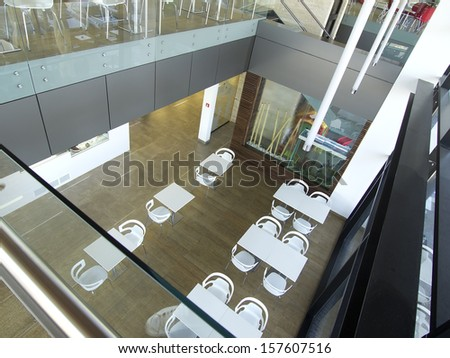 Modern business and shopping center interior