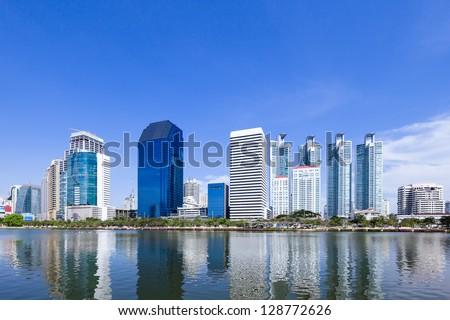 Modern business area in Bangkok, Thailand - stock photo
