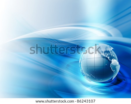 modern business background with the planet on a blue background - stock photo
