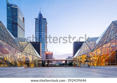 modern business buildings around square in zhuhai - stock photo