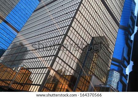 Modern business buildings, shot in hong kong, asia - stock photo