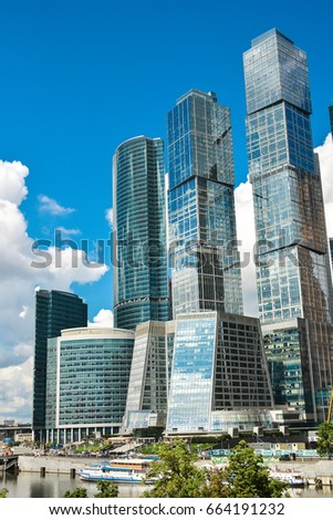 Modern business center buildings in Moscow city