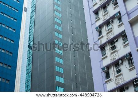 modern business center in hongkong, Modern Buildings in Commercial Area, Hong kong - stock photo