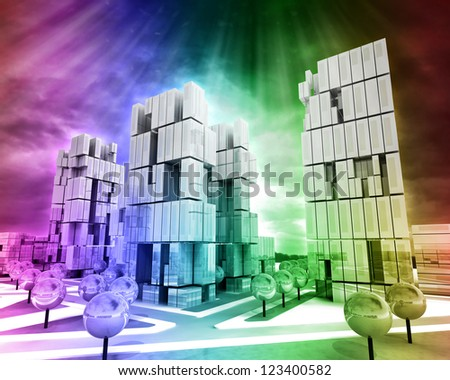 Modern business city as rainbow colored wallpaper illustration - stock photo