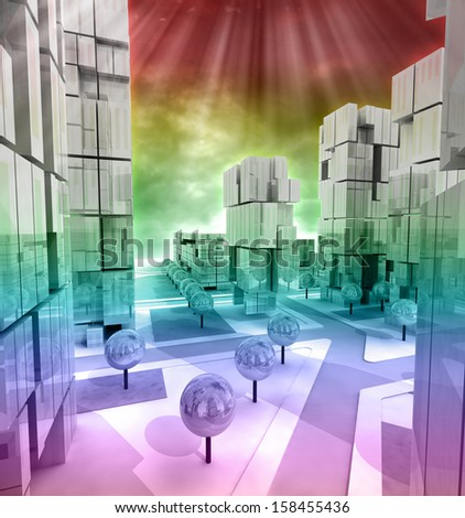 Modern business city horizontally rainbow colored illustration - stock photo