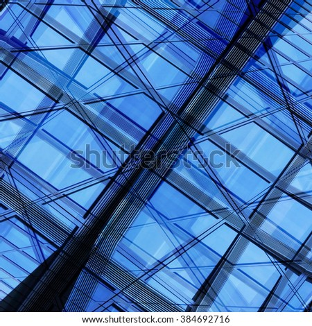 Modern business cityscape. Urban framework. Smart multiple exposure of contemporary architecture. Abstract hi-tech architectural composition in shades of blue and gray colors. - stock photo