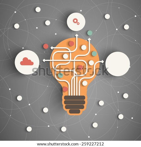 Modern Business Concept , Info Graphic Elements. Idea Lightbulb with many Solutions. - stock photo