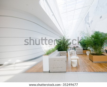 Modern business interior. Very spacious and clean - stock photo