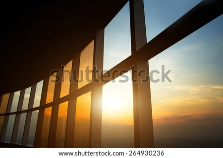 modern business interior, windows of office building - stock photo