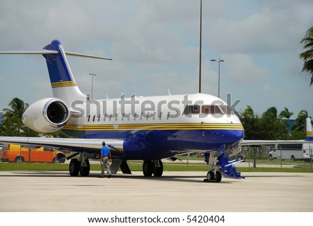 Modern business jet airplane - stock photo