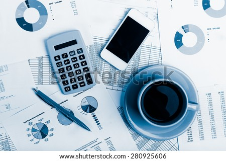 Modern business office workplace technology concept.  Blue toned - stock photo
