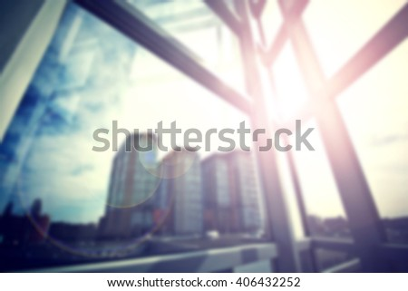 Modern business skyscrapers seen from the window. General view panorama. Financial, economics, future concept. Blur Bokeh concept. - stock photo