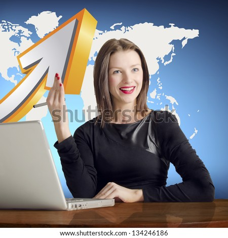 Modern business woman in the office with world map and arrow in background - stock photo