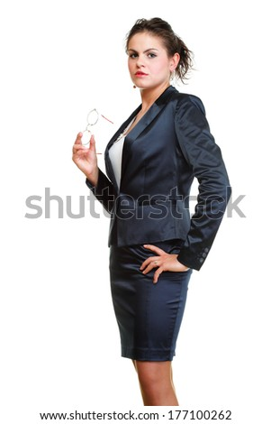 Modern business woman smiling and looking portrait isolated on white background. - stock photo