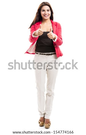 Modern business woman smiling and standing over a white background - stock photo