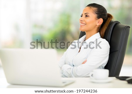 modern businesswoman relaxing at office - stock photo
