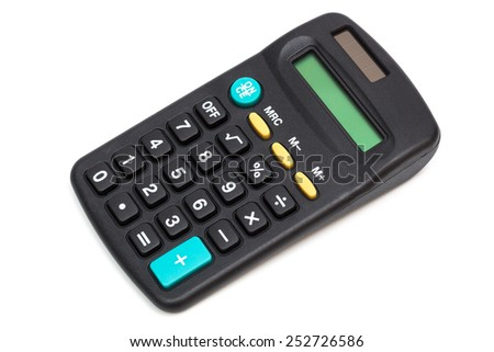 modern calculator on a white background - stock photo