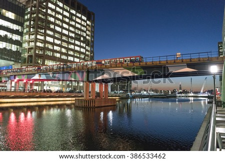 Modern Canary Wharf district in the evening - LONDON/ENGLAND  FEBRUARY 23, 2016