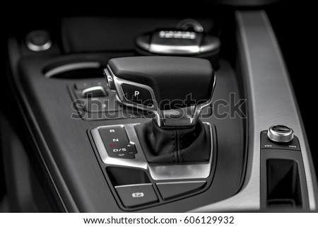 Modern car automatic gearbox gear stick lever