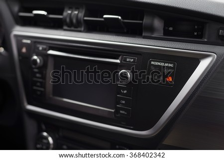 Modern car dashboard. Airbag control panel.