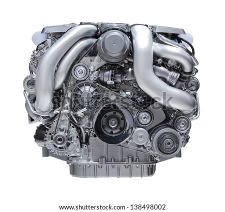 modern car engine isolated on white background. - stock photo