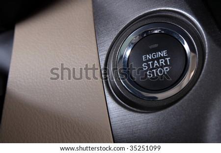 Modern Car Engine Start Stop Button - stock photo