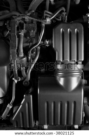 Modern car engine with air filter in black and white - stock photo