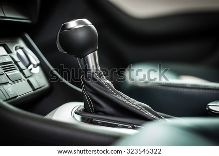 Modern car interior, gearstick close up photo