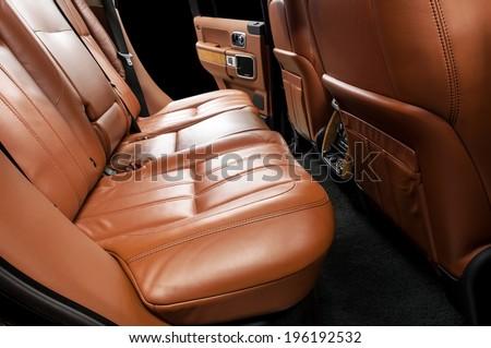 Modern car interior. Rear seats. - stock photo