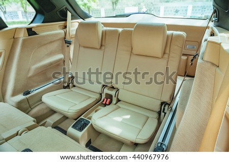 Modern car interior. Rear seats.