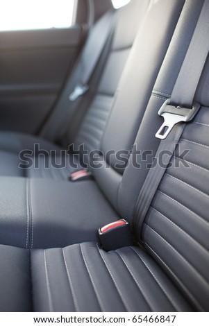 Modern car interior (shallow DOF - selective focus; color toned image) - stock photo