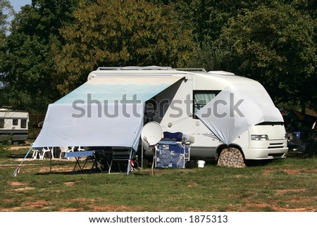 modern caravan - stock photo