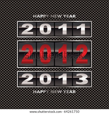 Modern carbon fiber background with 2012 new year counter - stock photo