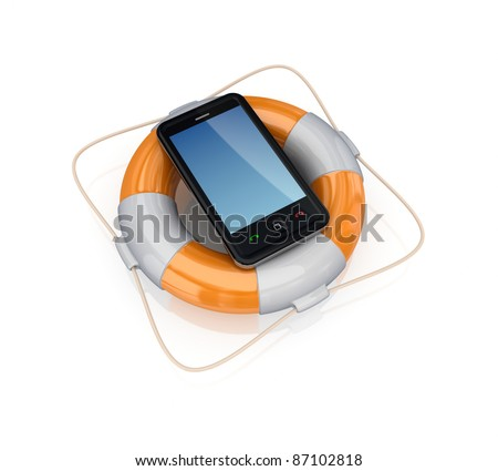 Modern cellphone in a lifebuoy.Isolated on white background.3d rendered. - stock photo