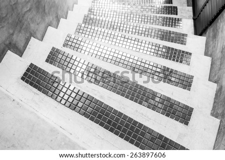 Modern Cement with mosaic stairs - stock photo