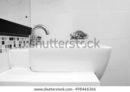 Modern ceramic white wash basin   bathroom interior  black and white tone. Wash Basin Stock Images  Royalty Free Images   Vectors   Shutterstock