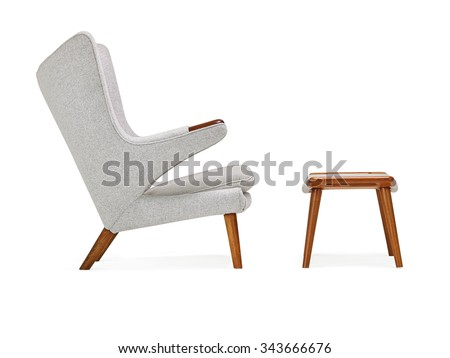 Modern Chair and Ottoman - stock photo