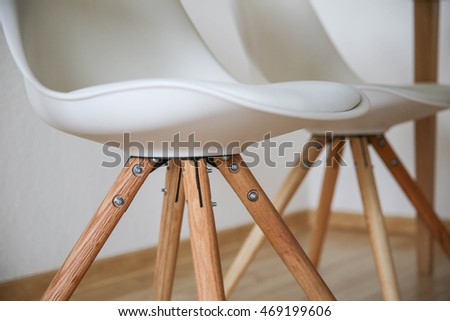 Modern Chair detail on wooden floor